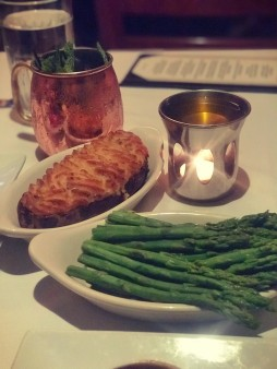 Twice Baked Stuffed Potato and Steamed Asparagus
